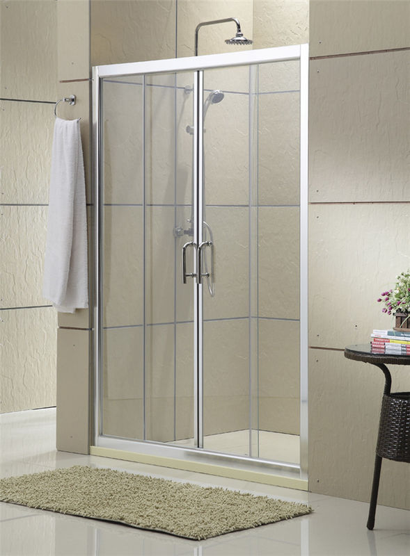 Clear Tempered Glass Double Sliding Shower Doors with F Shape Stainless Steel Handle