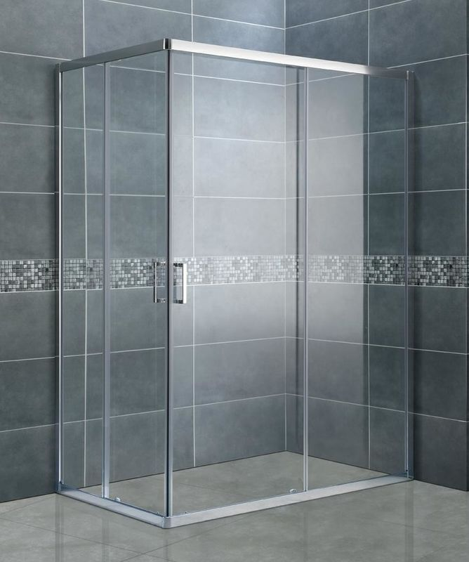 Clear Tempered Glass Rectangular Shower Enclosure Matte Sliver Bathroom Shower Cubicles