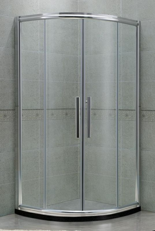 Curved With Bright Silver Frame Shower Doors Aluminum Alloy SGCC Certification
