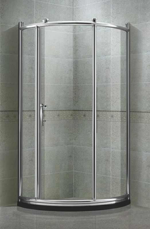 Matte Sliver All Arc Quadrant Shower Enclosures Tempered Glass With Big Brass Wheel