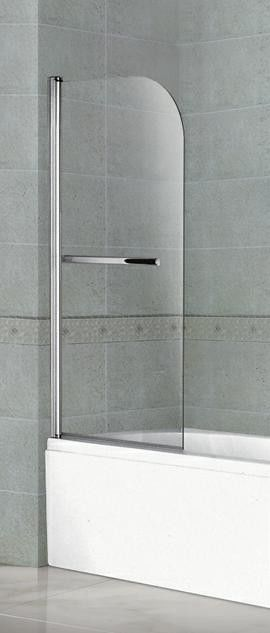 Pivot Chromed Stainless Steel Shower Enclosures Swing Movable Bathtub Clear Tempered Glass