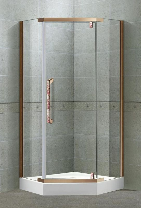 Red Bronze Diamond Pivot Shower Boxes Swing 304 Stainless Steel 8 MM Clear Tempered Glass